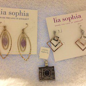 Bundle of New Lia Sophia Earrings and Pendant